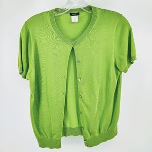 J. Crew Green Short Sleeve Button Down Knit Top